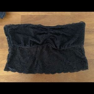 PINK lace strapless bandeau - black